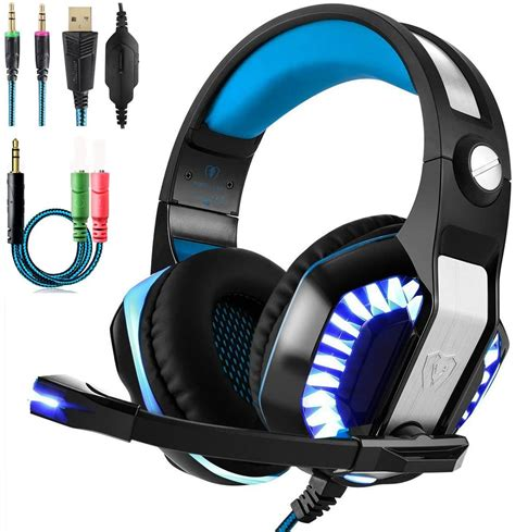 BEEXCELLENT Gaming Headset with Microphone LED Light for PC PS4 Xbox One Laptop Tablet Mobile Phones (GM-2) (White)