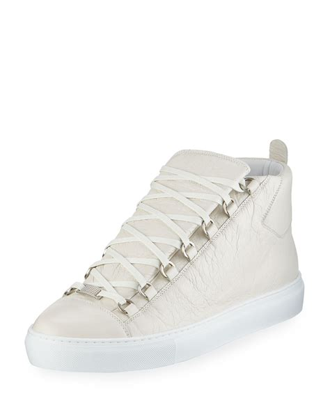 Balenciaga Arena White Leather High Top Sneakers Shoes