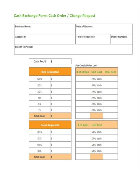 Bank Cash Change Request Form
