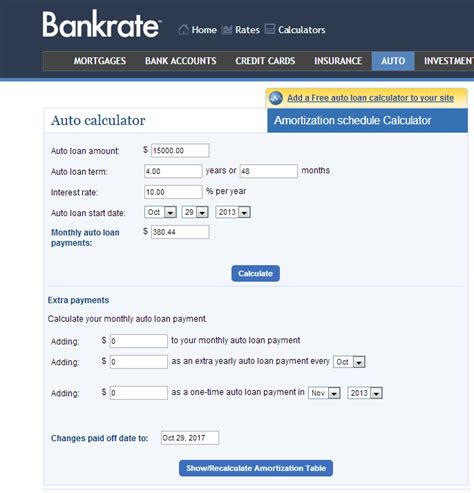 Bankrate Auto Payment Calculator