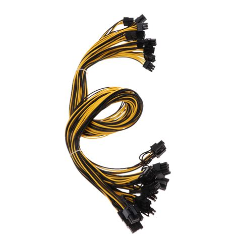 Baoblaze 12Piece PCI Express Power Splitter Cable PCI-E 6pin to 6+2-pin Graphics Wire