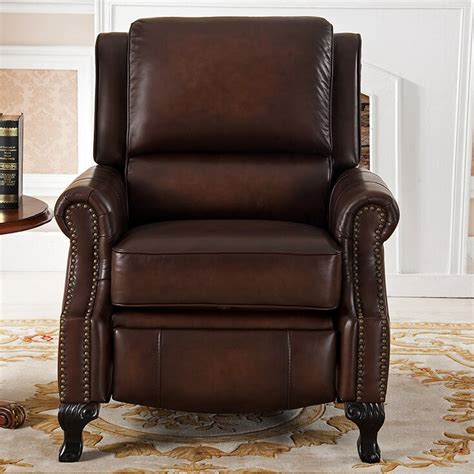 Bari Top Grain Leather Pushback Recliner