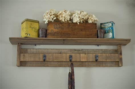 Barnwood Shelf With Hooks