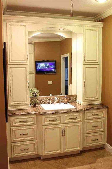 Bathroom vanity with linen cabinet Image
