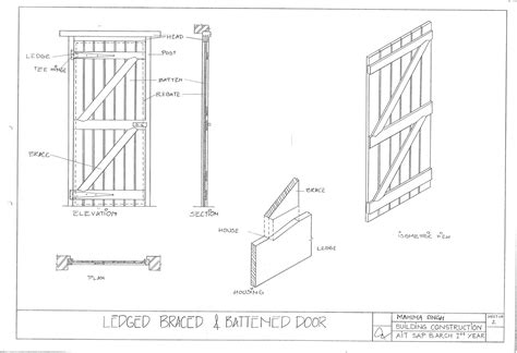 Battened And Ledged Door Plan