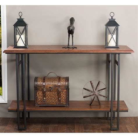 Baxton Studio Newcastle Wood And Metal Console Table Brown Plans