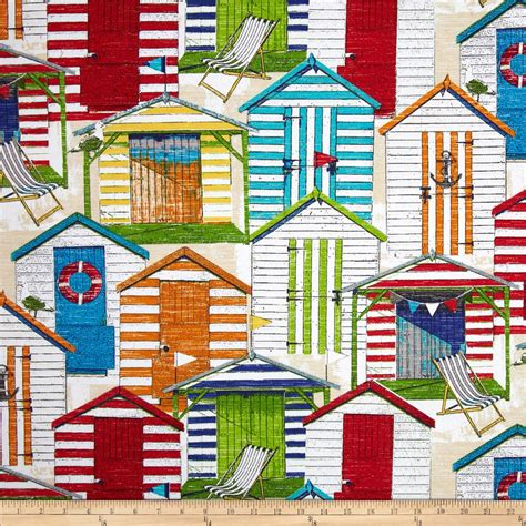 Beach Hut Pattern Fabric