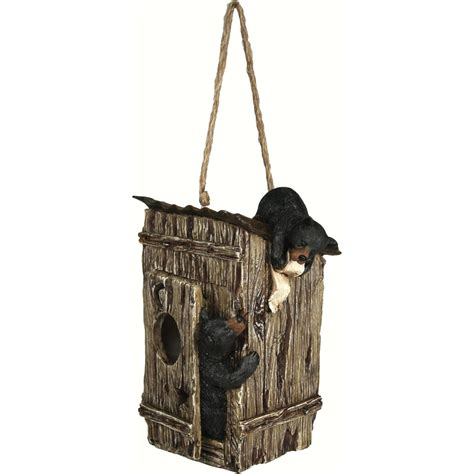 Bears In Outhouse Birdhouse Functional