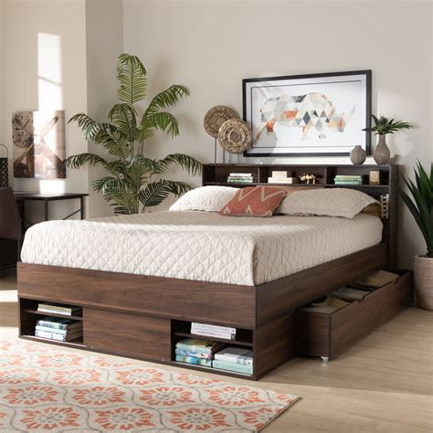 Bed Platform Queen Size Storage Bed 8 Drawers