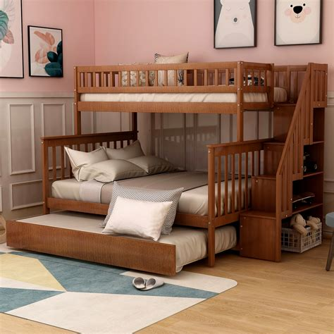 Abingd Solid Wood Twin over Full L-Shape Bunk Beds with Shelves