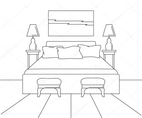 Bed-Line-Drawing-In-Plan