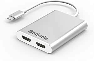 Belinda USB C to Dual HDMI Adapter, USB 3.1 Type C/Thunderbolt 3 to dual HDMI adapter 4K 30Hz USB-C to HDMI MST Hub With Aluminium Case