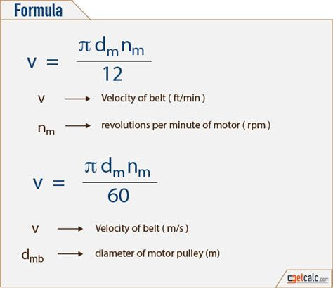 Belt Speed Formula In Meters How Tall