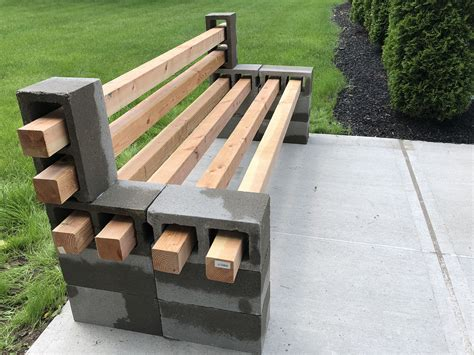 Bench Made With Concrete Blocks And Wood Diy