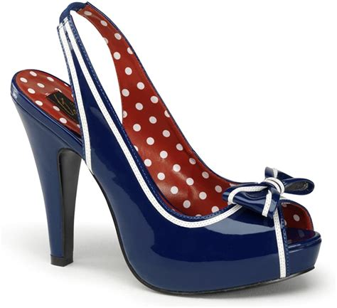 Bettie Navy Blue Nautical Sling Back Peep Toe Heels