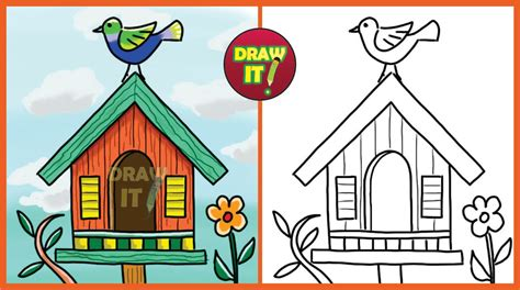 Bird House Drawing Kids Holding