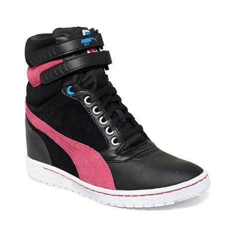 Black And Pink Puma Wedge Sneakers