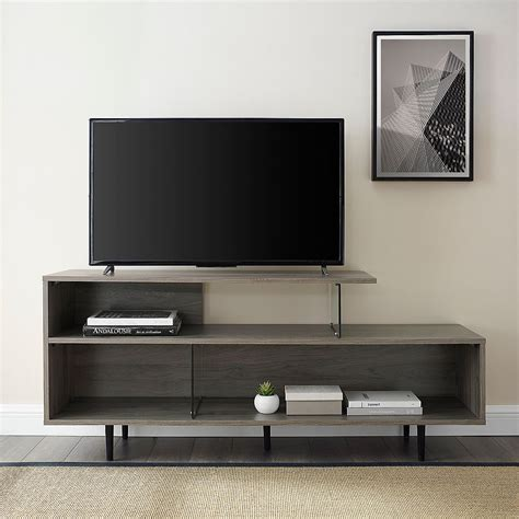Black Asymmetrical Modern Tv Stand