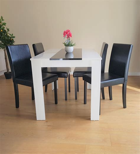 Black Dining Table White Leather Chairs