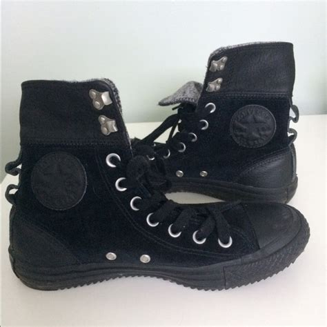 Black Fold Down High Top Sneakers Converse