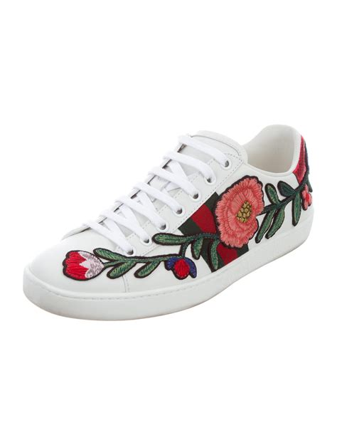 Black Gucci Sneakers With Flowers