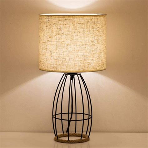 Black Iron Table Lamp With Basket Wrap