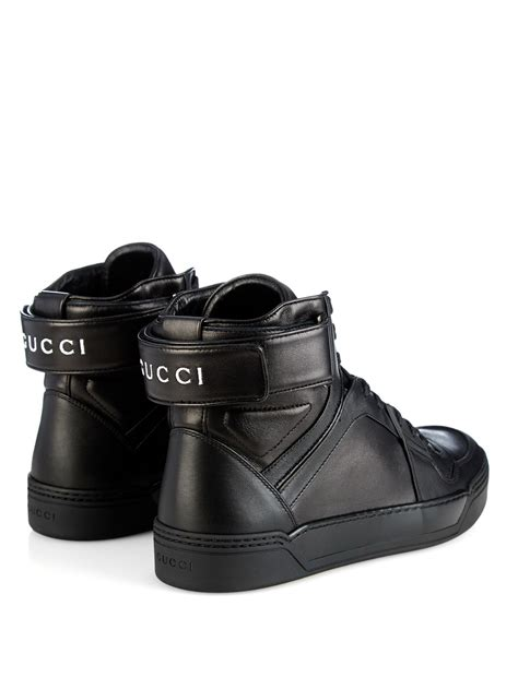 Black Leather Gucci High Top Sneakers