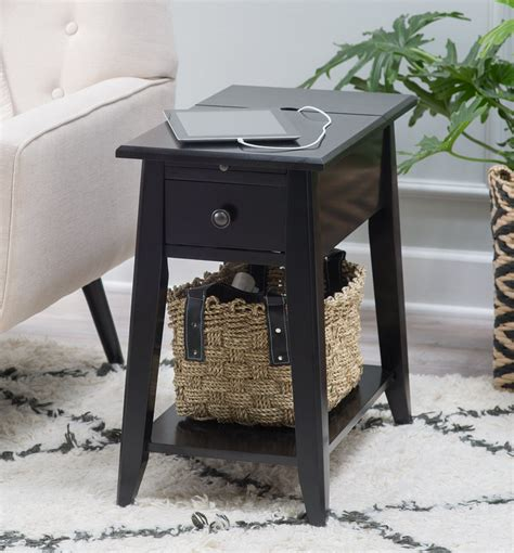 Black Side Table With Usb