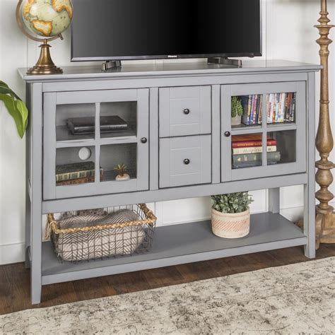 Black Tv Stand Buffet With Glass Curio