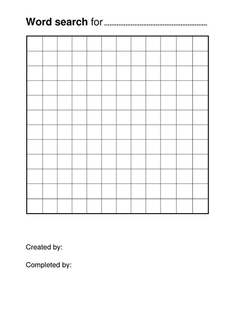Blank Word Search Templates Free Printable