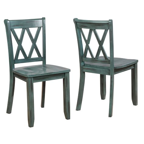 Blue Cross Back Dining Chair