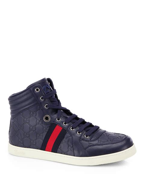 Blue Gucci Men High Top Sneakers