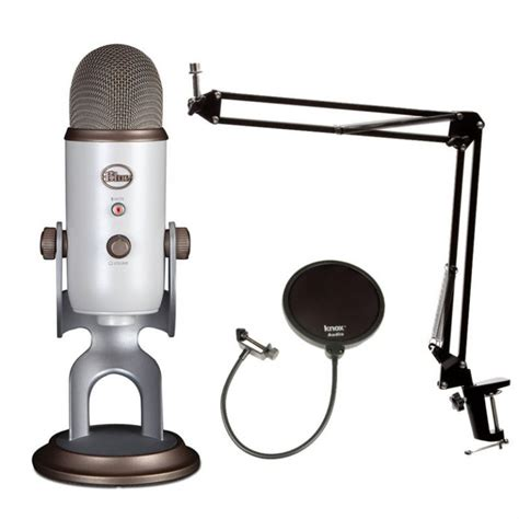 Blue Microphones Vintage White YETI w Knox Boom Arm, Shock Mount & Pop Filter