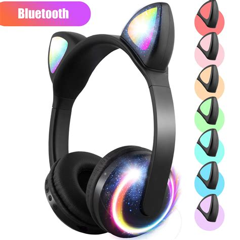 Bluetooth headset with microphone, light and light(Black + brown)