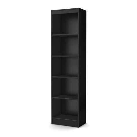 Bookcase 5 Black 4 shelf Narrow Bookcase Black