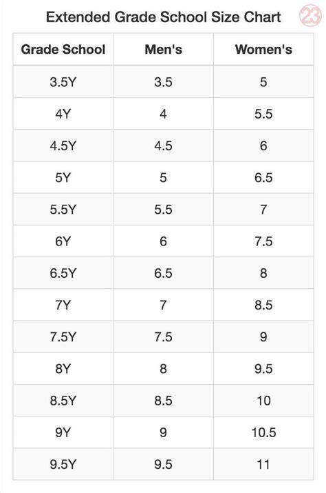 Boys Grade School Size To Women S
