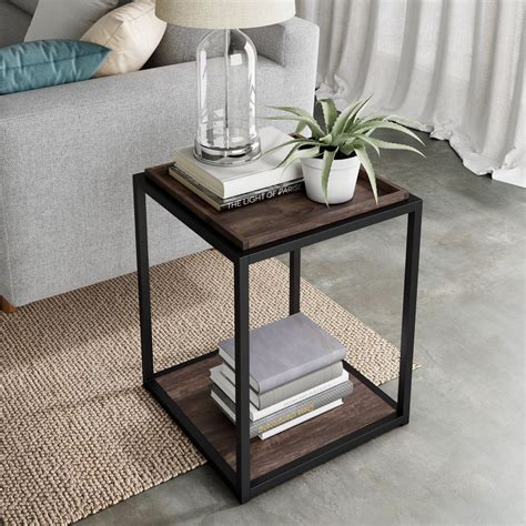 Brass Side Table Wood