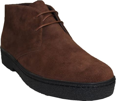 British Style - Chukka High Top Mens Brown Leather Shoes (Playboy Style # 5612)