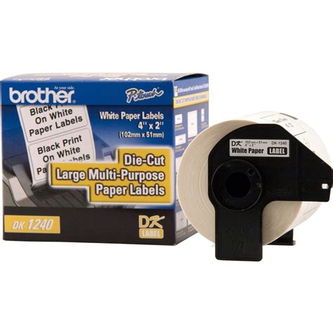 Brother DK1240 PC Label Printer Labels-Multipurpose Paper Labels,for QL-1050,4'x2',600/RL.,White