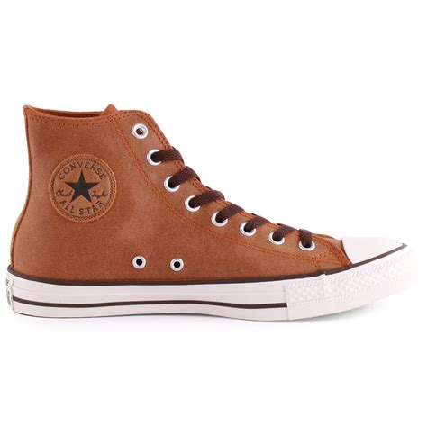 Brown Converse High Tops All Star Ox Leather Sneakers
