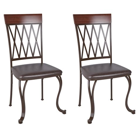 Brown Leather And Metal Dining Chairs