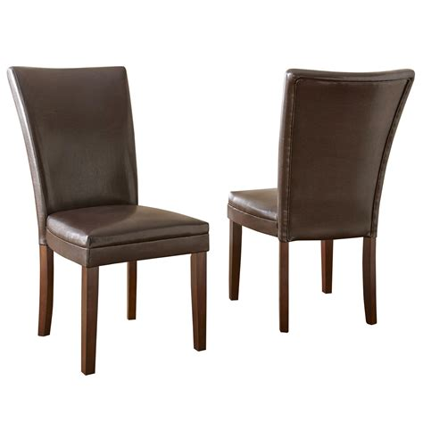 Brown Leather Upholstered Dining Chairs