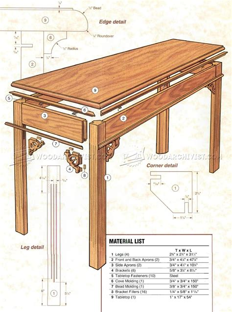 Building Plans For Sofa Tables