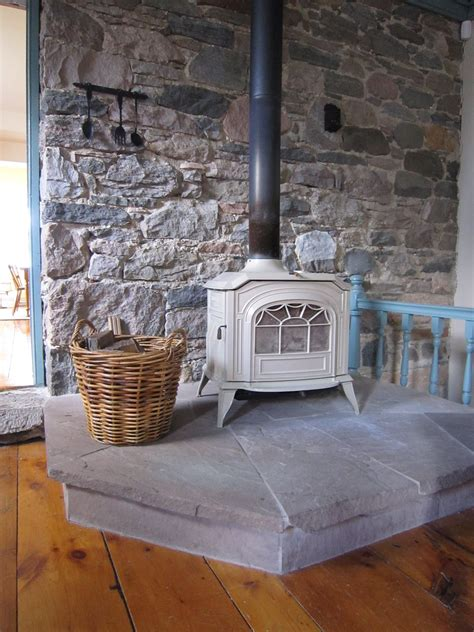 Building Stone Wall Behind Wood Stove