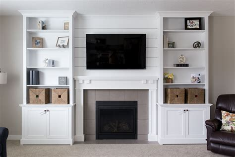 Built In Bookcase Plans Fireplace Tv