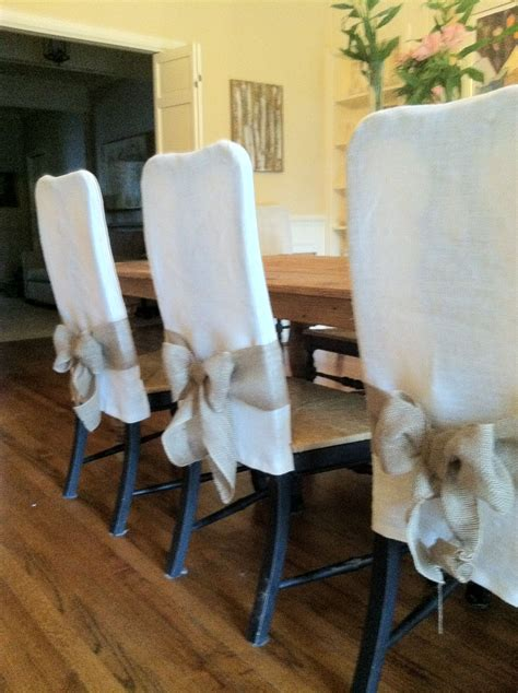 Burlap And Canvas Dining Chair Cover