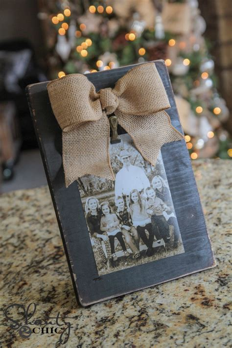 Burlap Bow Picture Frame Diy Christmas