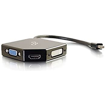 C2G/Cables To Go 54341 Go Mini DisplayPort to HDMI, VGA, or DVI Adapter Converter, Black