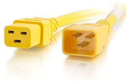C2G/Cables to Go 17754 C19-C20 Power Extension 12awg 10ft Yellow