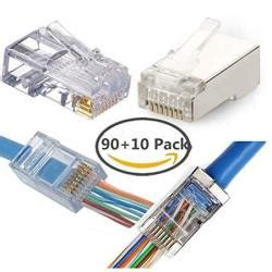 CAT6 Connector 90 Pack - Shielded modular plug 10 Pack - End pass through Ethernet 8P8C